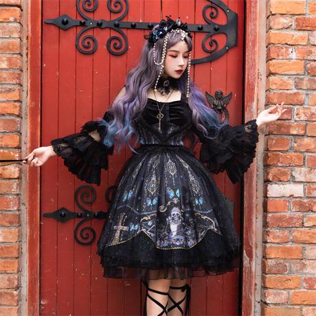 ロリータ ゴシック ワンピース コスチューム 黒ロリ ハロウィン 華やか 十字架 Lolita 豪華4点セット
