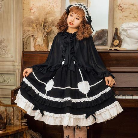 ロリータ ショール ボレロ 日よけ 羽織 春夏 レディース うさぎ 可愛い  ゆったり ブラック