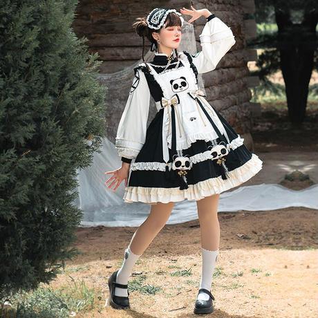 ロリータ ワンピース 長袖 秋冬 新作 オリジナル 中華風 可愛い パンダ チャイナドレス メイド服