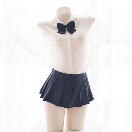 セーラー服 セクシー  学院 セットアップ シャツ スカート シースルー 透明 制服  萌え