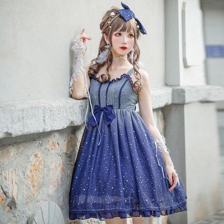 ロリータ ワンピース ヘッドドレス付き 星空 夏 スリム ゆめかわいレディース