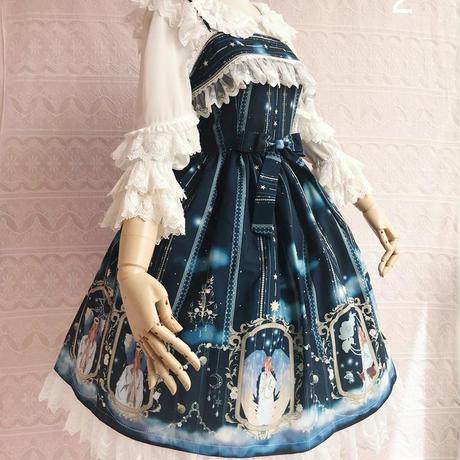 ロリータ  ジャンパーワンピース スカート プリント 大天使 アウリエル  JSK 月 リボン 4色