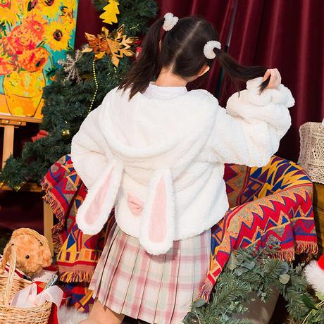 ロリータ コート 甘ロリ うさ耳 レディース フード付き ダッフル  うさぎ 冬 もこもこ 萌え 兎 ホワイト  暖か