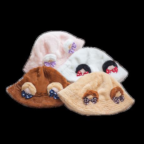 帽子 ロリータ 秋冬 真冬 フェイクファー 耳付き ハット もこもこ くまさん 全4色 レディース