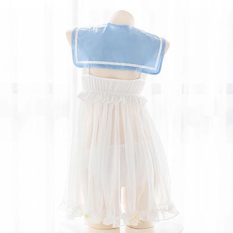 ワンピース セクシー コスプレ ロリータ セーラー  制服 シースルー   かわいい   情趣   ゆめかわいい  ショーツ付き