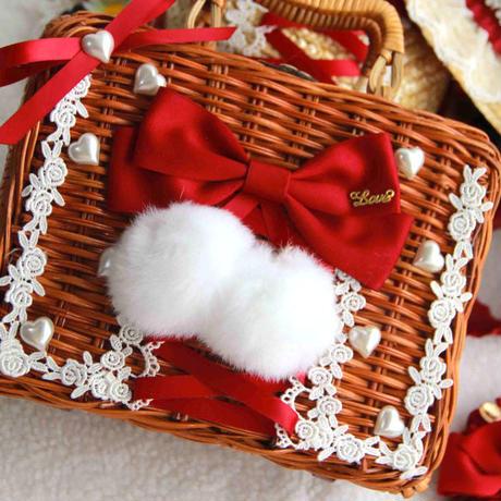 ロリータ ラタンバスケット 籐 かご バッグ かわいい いちご 田園風  ピクニック