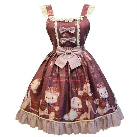 ロリータ ワンピース ジャンパースカート サスペンダースカート ロリィタ ゴシック ゴスロリ  可愛い クマ柄