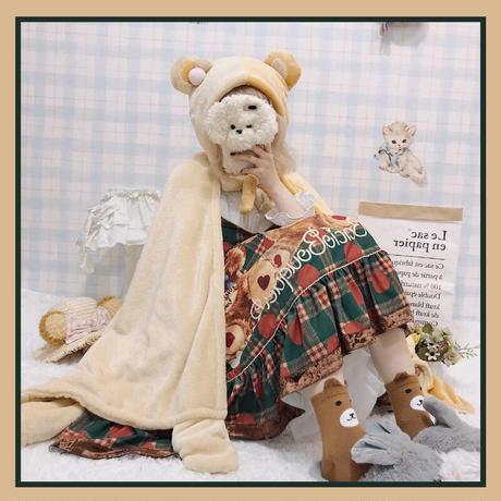 ロリータ ポンチョ ケープ マント レディース 暖か 冬 ベア 熊 うさぎ 兎 ロリィタ 耳付き ルームウェア 防寒