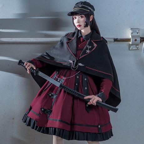ブラウス ロリータ ロリィタ ゴスロリレディースシャツ 秋冬 軍服風 コーデ 自由 大人 可愛い ブラック