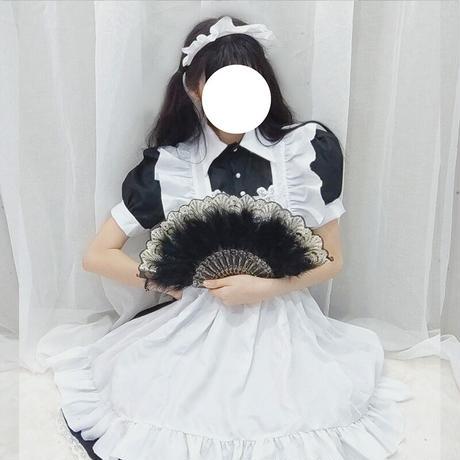 ロリータ ロリィタ 甘ロリ ワンピース 白黒 定番 クラシック メイド服 レディース半袖 長袖 選べる