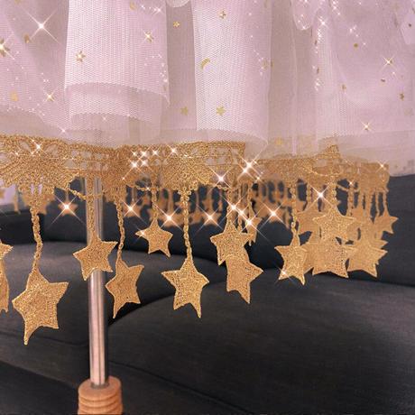 パニエ ロリータ ワイヤー入り 金色 星柄 レース ボリューム 調節可 ミディアム ロング スカート  ドレス  丈68cm  ウェディングドレス
