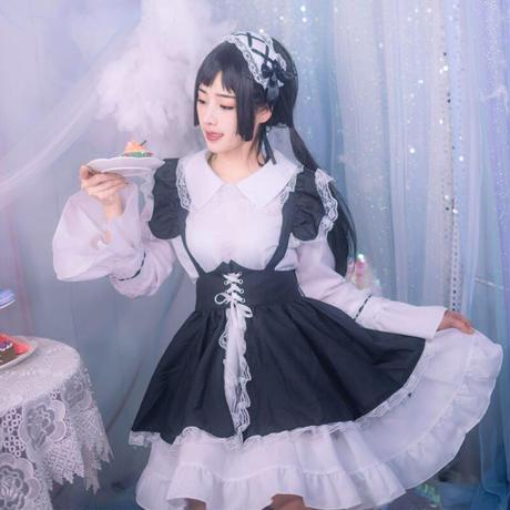 ロリータ エプロンセット 甘ロリ ゴスロリ メイドワンピース レディース ゴシック姫 メイドカフェ メイド喫茶