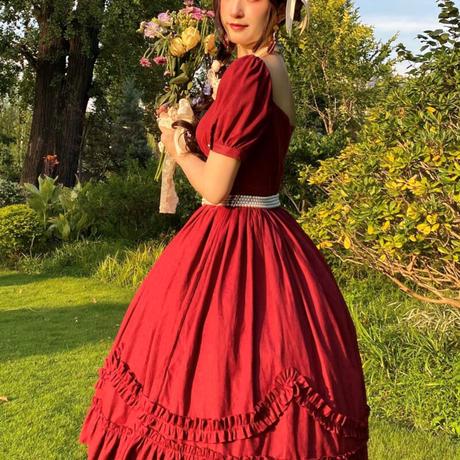 ワンピース ロリータ ドレス 半袖 フランス風 レディース 優雅 エレガント クラシカル 3カラー