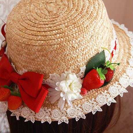ロリータ レディース  帽子 麦わら帽子 田園風 フランス  いちご かわいい 夏