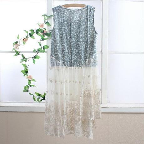 ロリータ ワンピース ノースリーブ ロリィタ レディース 夏  シースルー  刺繡  透け感 重ね着 フラワー