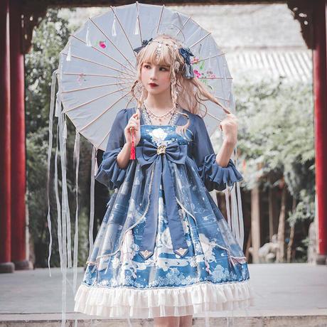 ロリータ ワンピース 長袖 チャイナドレス コスプレ レディース 双子コーデ 中国 中華 衣装 漢服