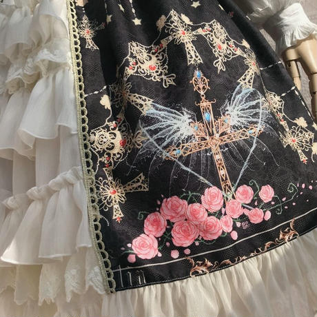 ロリータ オリジナル ワンピース   冬 ジャンパースカート クジャク 十字架 プリント