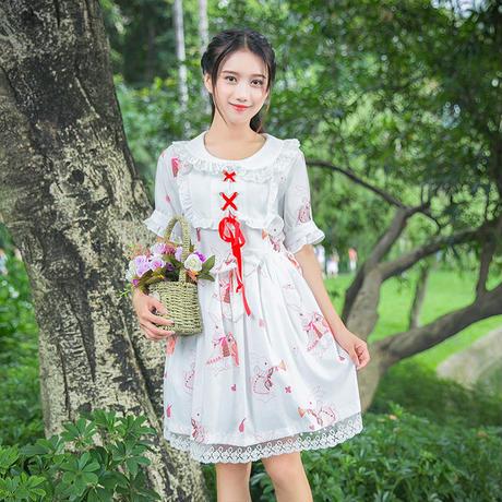 ロリータ ロリィタ ワンピース 春夏 少女風 かわいい レトロ 長袖 半袖 ウサギ柄
