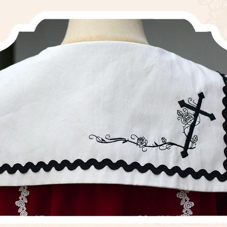 ワンピース ロリータ ゴシック 十字架 春 秋 長袖  刺繍 薔薇  ブラック レッド