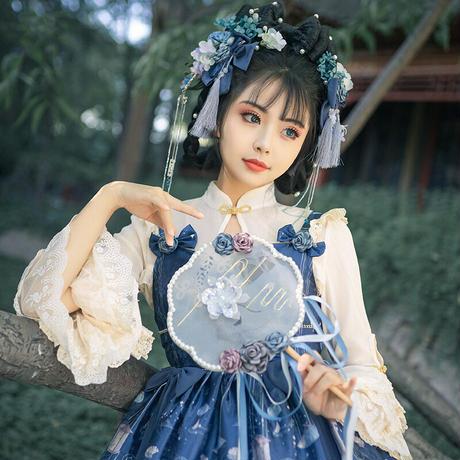 ブラウス ロリータ 長袖 ゴスロリ レディース シフォン レース フリル 姫 中華風 チャイナドレス風襟 透け 重ね着