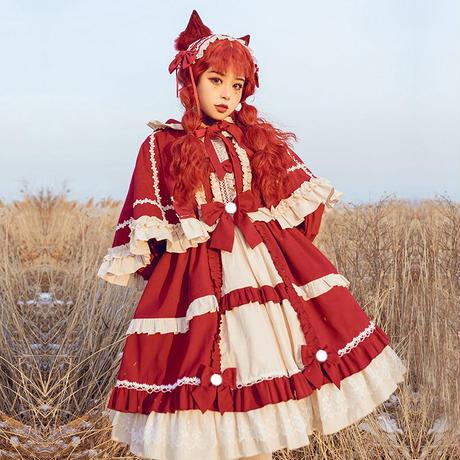 ワンピース 長袖 ロリータ 春秋冬 レディース ロリィタ コスプレ コスチューム 赤ずきんちゃん