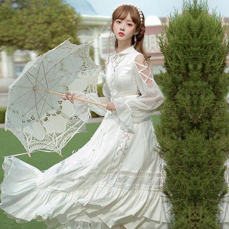 ロリータ 長袖 ワンピース 秋冬春 ロリィタ プリンセス 姫 優雅 美しい ゴシック ゴスロリ フリル レース  衣装