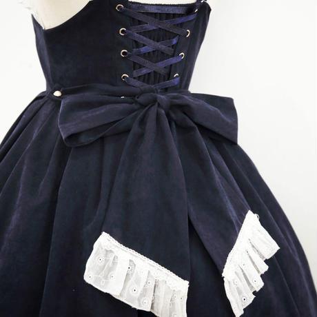 ロリータ ワンピース キャミソール 春 秋  ハイウエスト 薔薇 刺繍  レースアップ 編み上げ