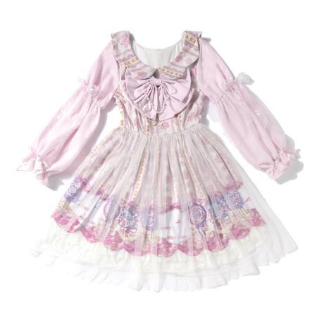 ロリータ ワンピース 長袖 華麗 花模様  ピンク 可愛い ゆめかわいい S-M L-XL