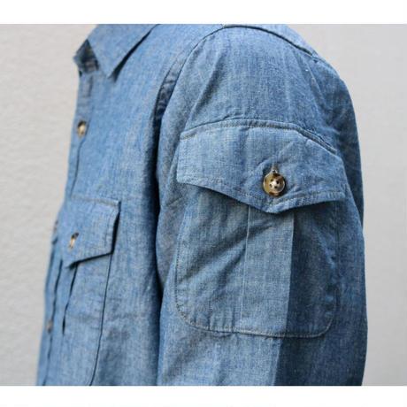 WORKERS【 W&G Shirt 】BlueChambray . OlivePoplin