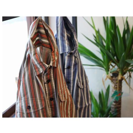 KATO'    【ネルストライプワークシャツ】Blue,Size.S