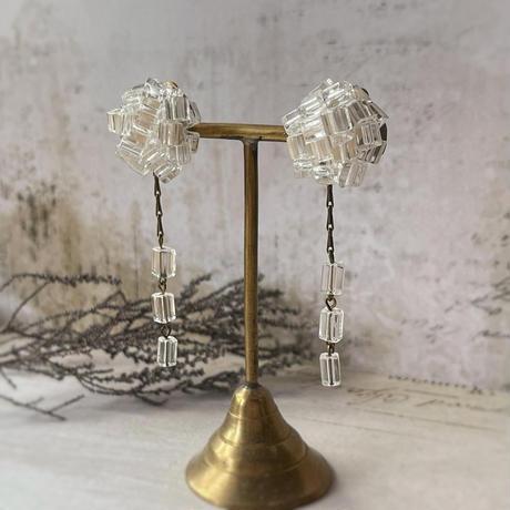 ヴェネチア製クリアガラスのピアス/イヤリング
