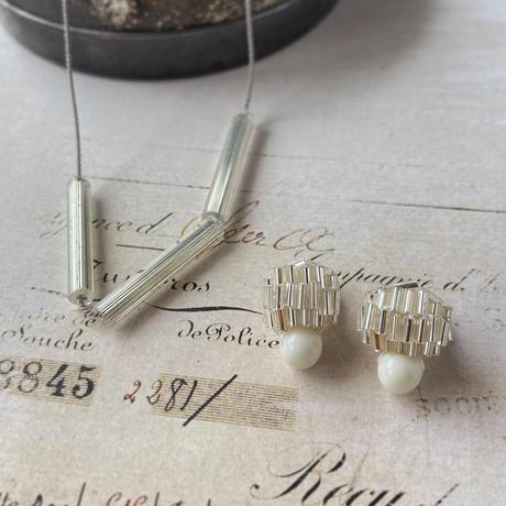ヴェネチア製クリアビーズのシルクコードネックレス