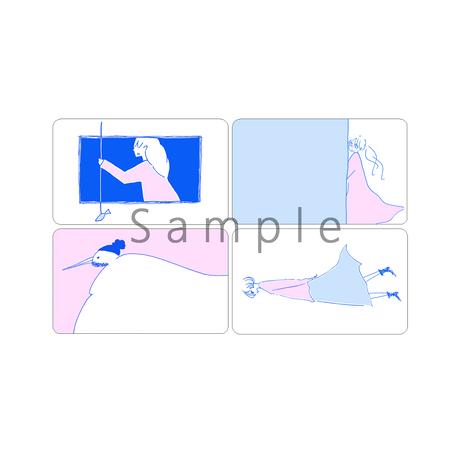 ミニカード 青×ピンク