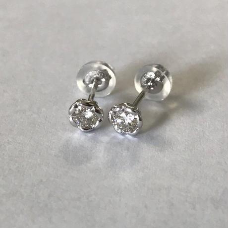 K10WGダイヤモンド0.20ctピアス【ぴ0001】