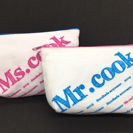 「Mr.cook & Ms.cook」 マチ付ポーチ2個セット