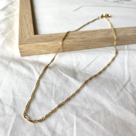 【Hand-made】Simple twist chain necklace #335