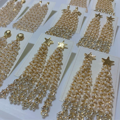 【Hand-made】Beads tassel pierces / earrings (star) #208