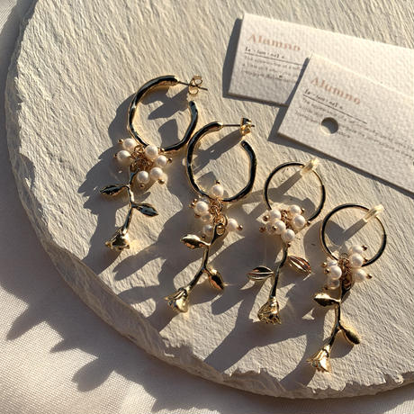 【Hand-made】The rose pierces/earrings #10