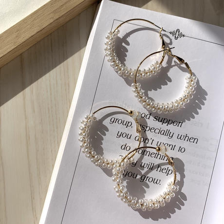 【Hand-made】Mini pearl wrapped hoop pierces / earrings #3