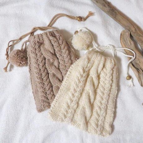アラン編み巾着バッグ