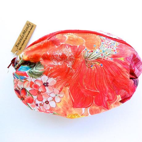 リバティバルーンポーチ(大)マリーナシーフラワー・ピンクオレンジ1