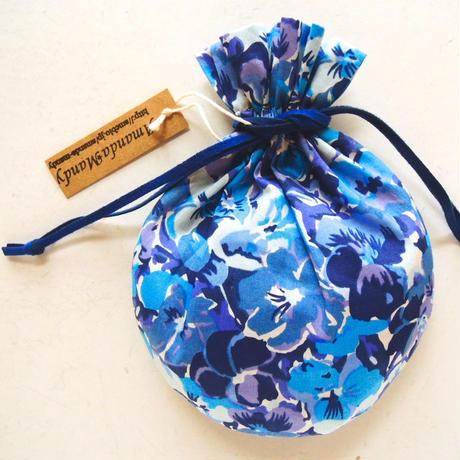 キャンディ巾着・リバティ・オーブリー・ブルー