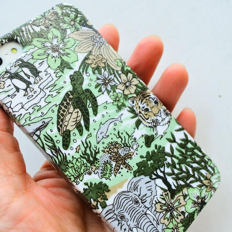 iPhoneSE/5sケース/ハリージェームスジャングル・グリーングレー
