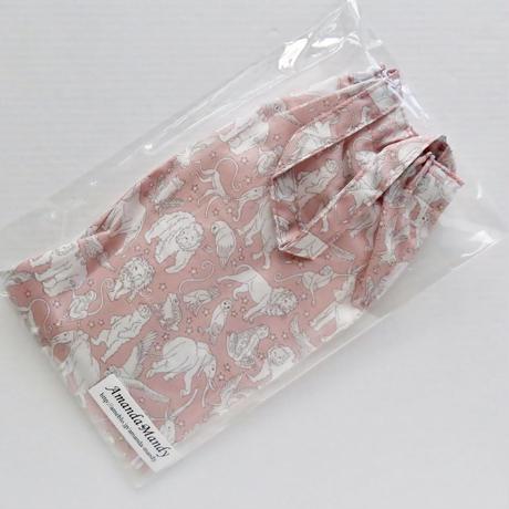 リバティペットボトルカバー(持ち手あり)ミッドナイトミスチーフ・ピンク