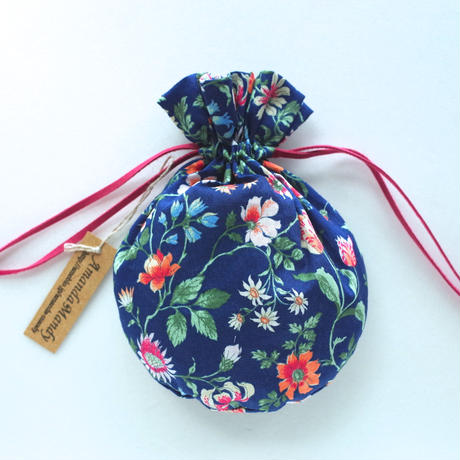 リバティキャンディ巾着・花柄・ネイビー