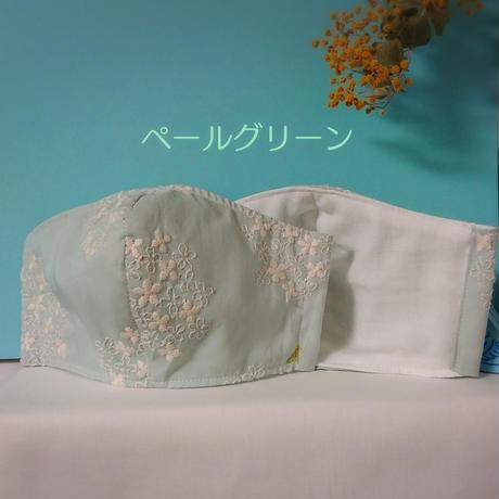 立体マスク《ゆったり大人用》*60ローン刺繍生地×ダブルガーゼ