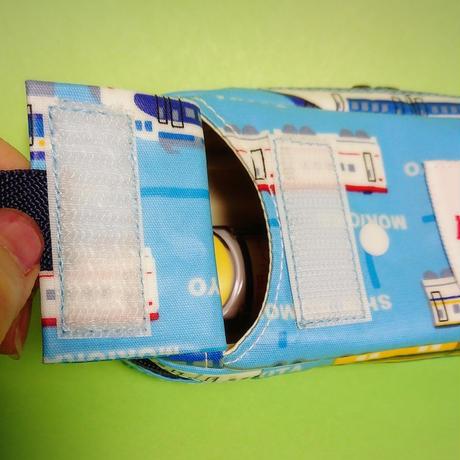 ひょっこりエピペン用ポーチ・1本両開きタイプ新幹線水色ラミネート【No.200111B】