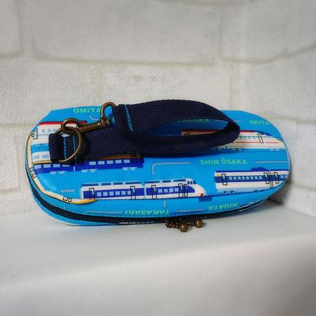 ひょっこりエピペンポーチ1本両開きタイプ・新幹線ライトブルー【No.200812】