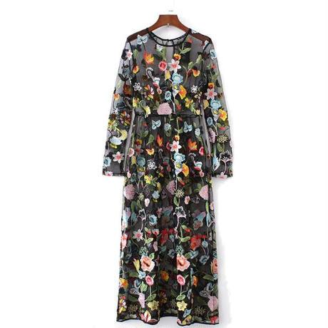 Floral Mesh刺繍マキシドレス