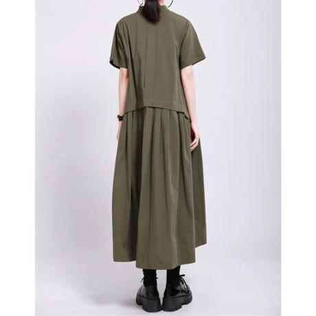 Stand Collar Flaredルーズシャツワンピース《BLACK/GREEN/BEIGE》